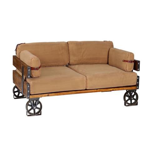 vintage industrial sofa khaki cotton   deep funky