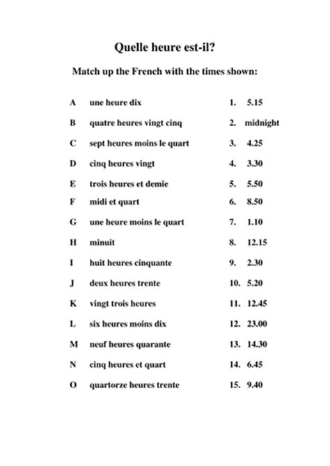 time match in french by mum44tops teaching resources tes