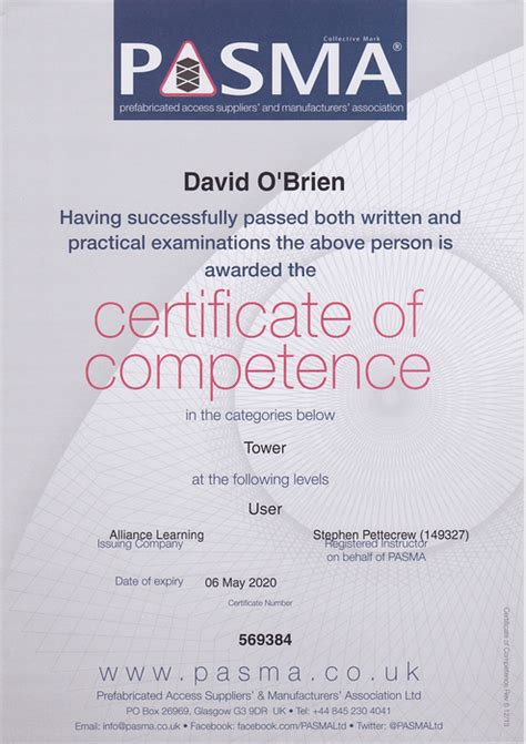 north west fire protection limited pasma certificate