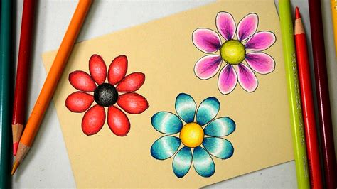 Coloring Flowers With Colored Pencils by 3 Ways To Color A Basic Flower With Prismacolor Colored