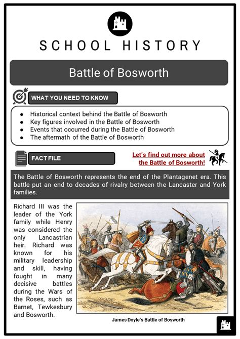 battle  bosworth facts worksheets factions prologue