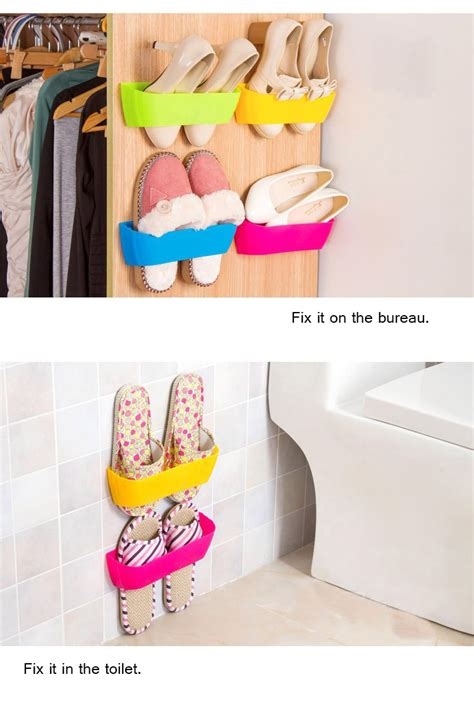 diy bureau diy paste three dimensional glue hanging shoe shelf