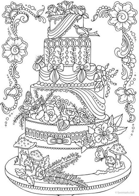 cake printable adult coloring page  favoreads