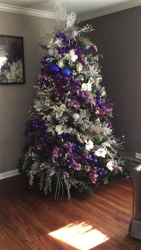 christmas tree purple and silver christmas trees