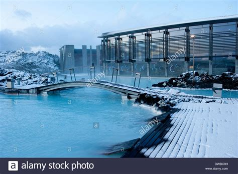 Snow And Ice At Blue Lagoon Spa Reykjavik Iceland Stock