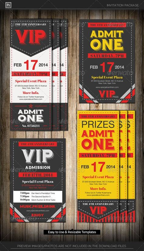 admit  vip ticket invitation template ticket template