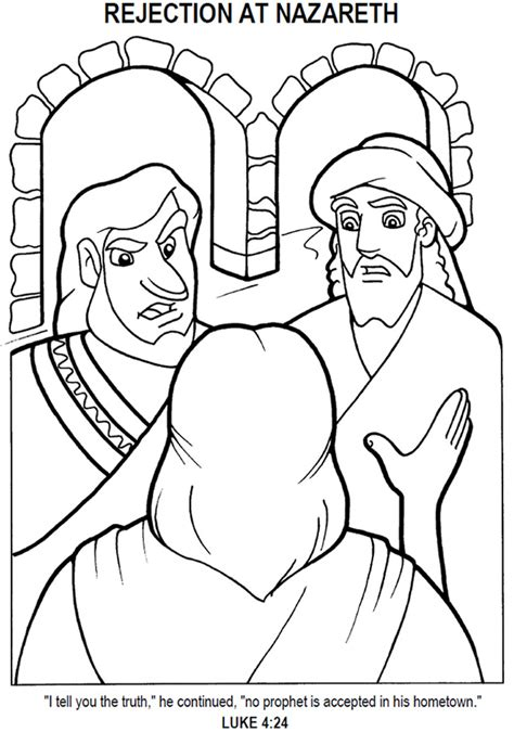 jesus rejected  nazareth coloring page