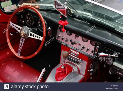 A Dashboard Of An Old E-type Jaguar Car Stock Photo