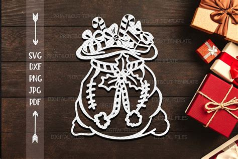 santa sack svg santa bag svg papercutting template hand