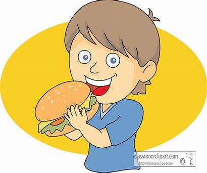 Eating Boy Hamburger Clipart Fast Classroom Background