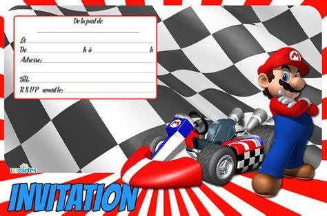 si e auto autour de b carte invitation anniversaire mario kart gratuite à