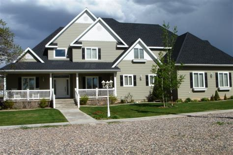 Sage Green House With Red Door Gray Exterior Paint Colors