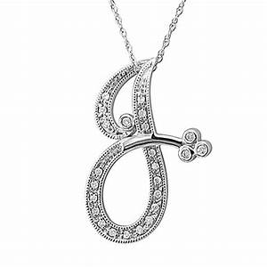 14k white gold alphabet initial j diamond pendant necklace With white gold letter pendant