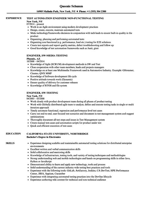 engineer testing resume sles velvet jobs