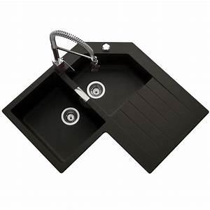 évier En Résine Noir : vier d angle en granit schock lokti 2 bacs 1 gouttoir ~ Premium-room.com Idées de Décoration