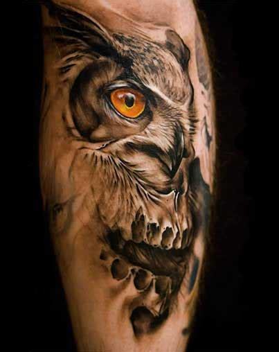 yellow eyed realistic owl tattoo  men