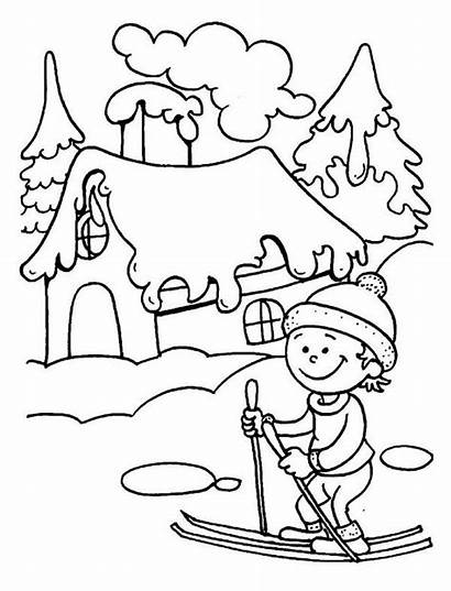 Coloring Winter Skiing Ski Pages Learning Season
