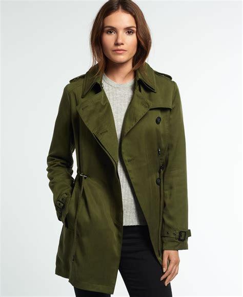 Draped Coats - womens winter draped trench coat in khaki superdry