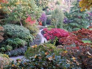 autumn colours at butchart gardens in