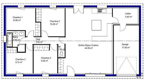 plan maison plain pied 3 chambres 100m2 contemporaine maisons lara