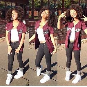 Swag nike thug curly hair jersey cute summer outfit spring jeans leg warmers tank top white ...