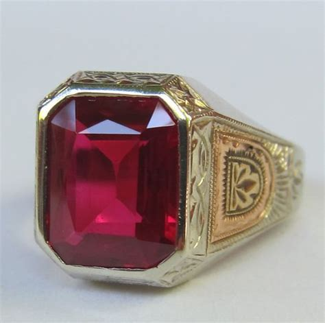 antique victorian mens finely engraved  white ruby