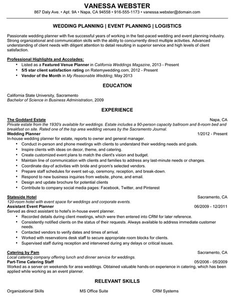 Planner Resume by Wedding Planner Wedding Planner Resume