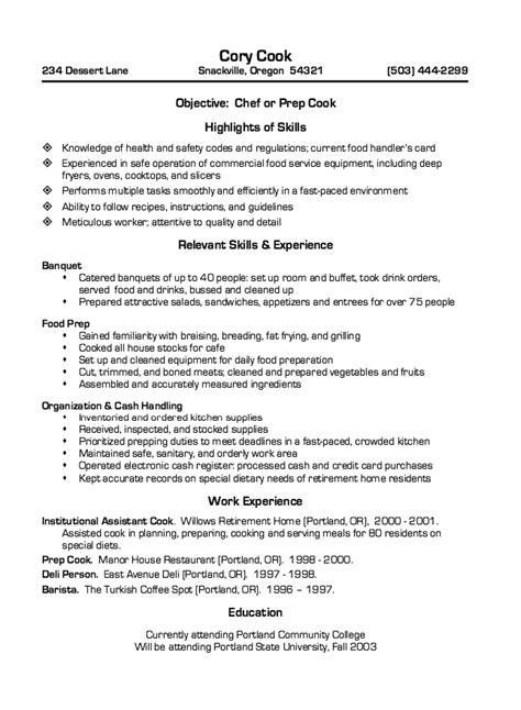 restaurant cook resume sle resumes design