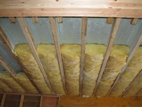 garage ceiling with spray foam flash air seal plus batt