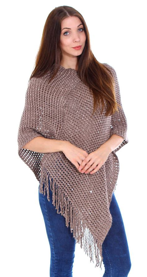 knitted tassel edge sweater poncho cape scarf