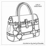 Drawing Purse Designer Bags Coloring Handbags Bag Sketch Handbag Drawings Pages Illustrator Illustration Cad Iconic Sketches Purses Books Adults Sac sketch template