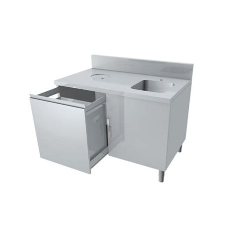 poubelle cuisine professionnelle meuble combiné lave poubelle 1 tiroir coulissant p 800 mm stl sarl materiels cuisine com