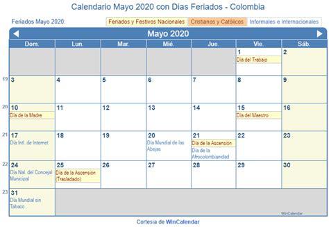 calendario mayo imprimir colombia