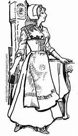 Coloring Pilgrim Pilgrims Pages Lady Children Costume sketch template