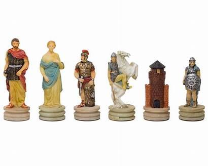 Chess Pieces Romans Greeks Italfama Painted Hand