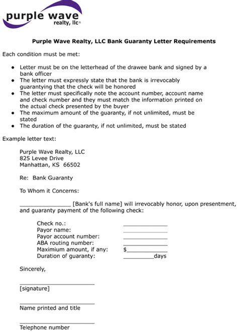 letter format  bank guarantee