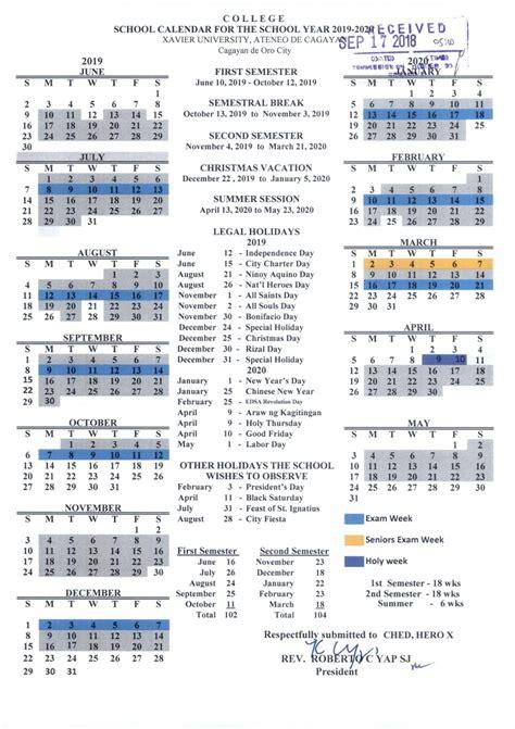 xavier university university academic calendar