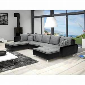 grand canape en u de 6 places dante en tissu et simili With tapis exterieur avec canape cuir super u