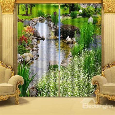 wonderful stream  water polyester  piece  curtains