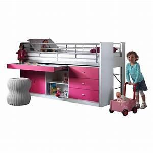 Lit Enfant Combiné : lit combin enfant bonny fuchsia ~ Farleysfitness.com Idées de Décoration