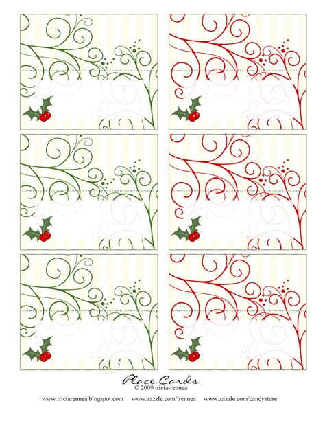 tricia rennea illustrator christmas place cards