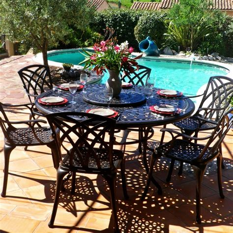6 Seater Metal Garden Table And Chairs frances 6 seater metal garden furniture set lazy susan