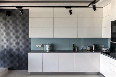 blue kitchen backsplash bachelor s apartment with podiums panoramic windows
