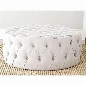Charlene Taupe Linen Fabric Ottoman - Overstock com