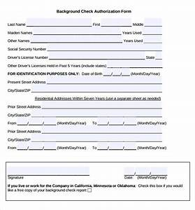11 background check authorization forms to download sample templates for Background check form template free