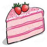 Abeka   Clip Art   Pink Cake Slice—with strawberries on top