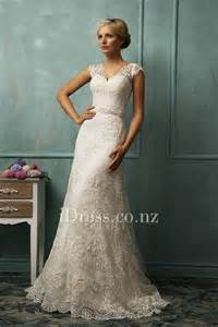 vintage lace wedding dresses with sleeves lace cap sleeve v neck illusion back a line wedding dress idress