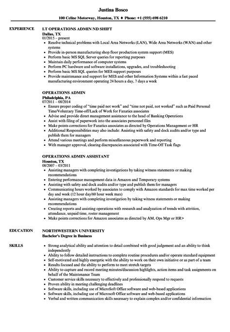 Admin Resume by Operations Admin Resume Sles Velvet