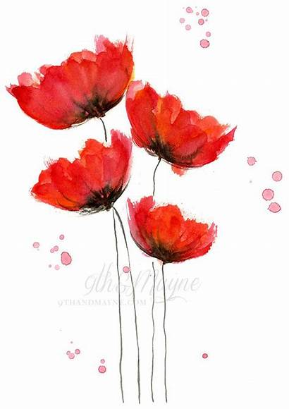 Watercolor Poppies Flowers Painting Poppy Flower Simple