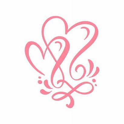 Calligraphy Hearts Card Vector Handmade Greeting Calligraphic
